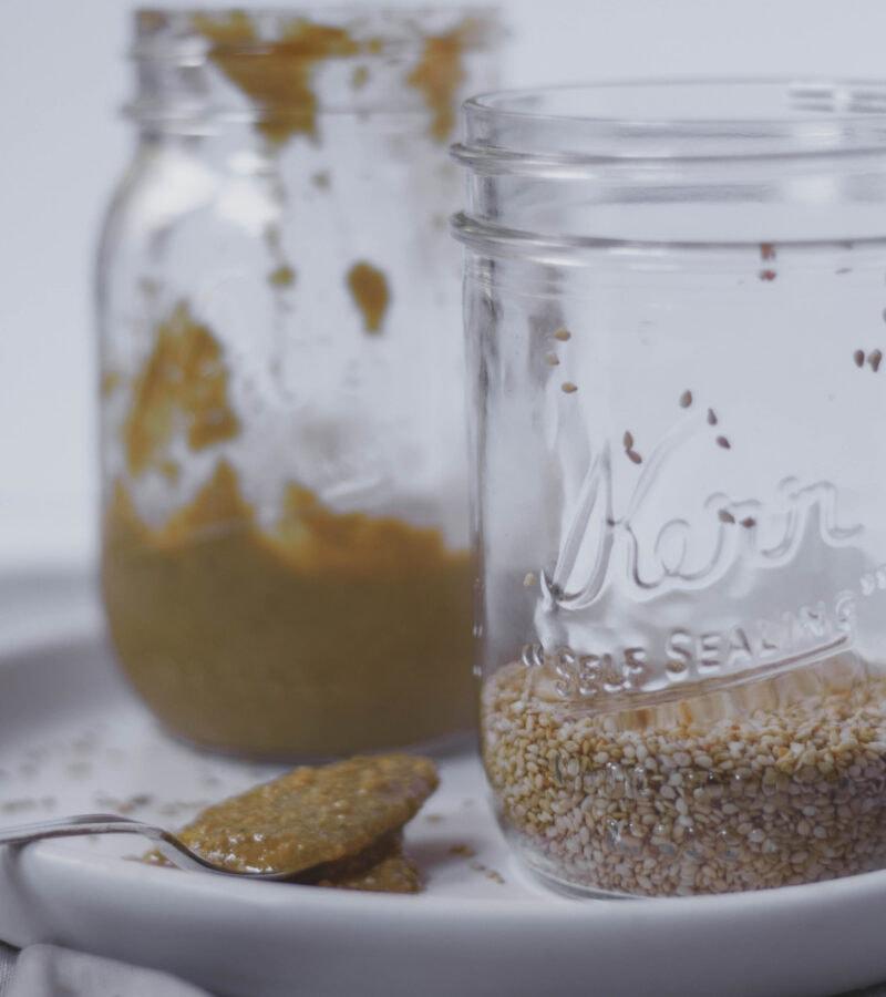 homemade tahini and sesame seeds
