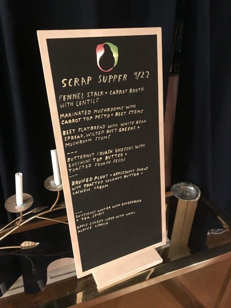 scrap supper chalkboard menu