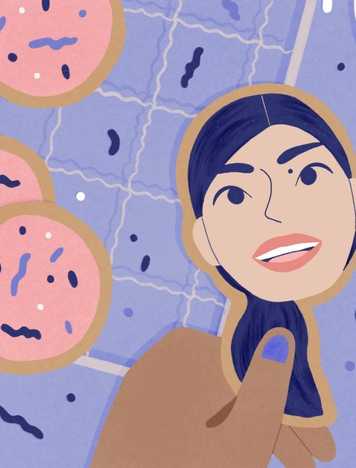 illustration of decorated cookies and Jasmine Cho as a cookie