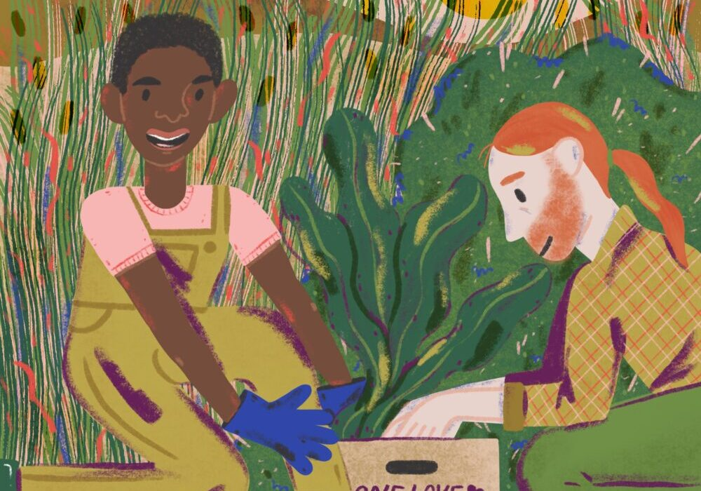 colorful illustration of One Love Garden farmers