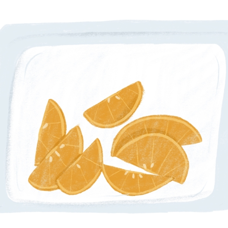 litterless orange slices in reusable bag