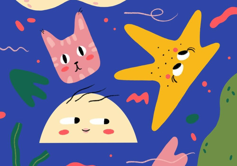 abstract illustration of faces, pink cat, yellow star, off-white half moon