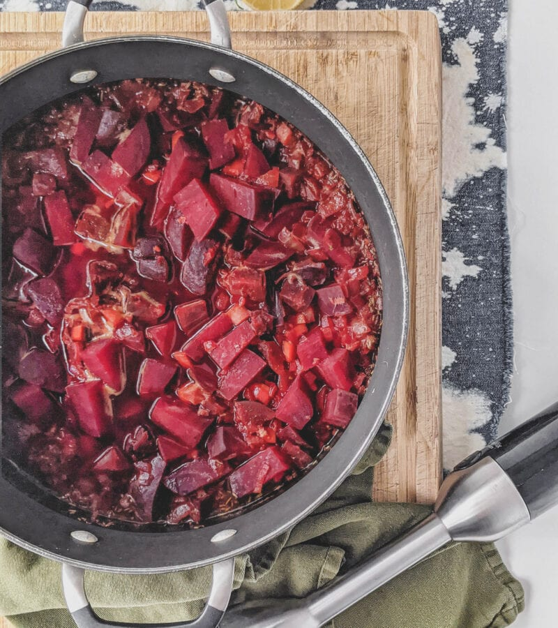 beet root soup being mixed