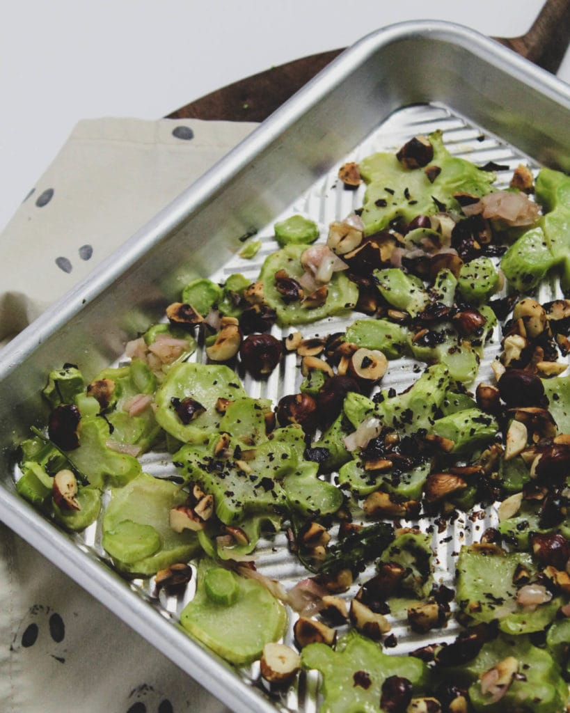 broccoli stalk and toasted hazelnuts