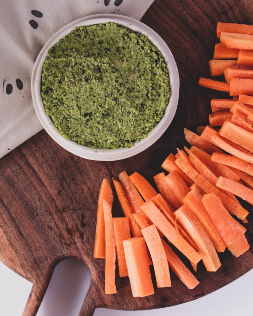 carrot top dip with carrots (peels on!)