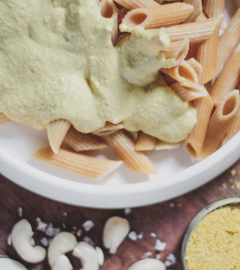 vegan cashew cheese sauce on pasta