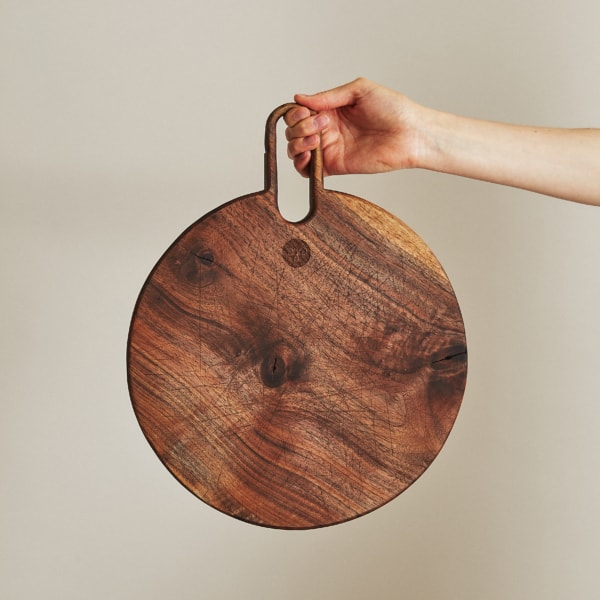 reclaimed, round walnut cutting board