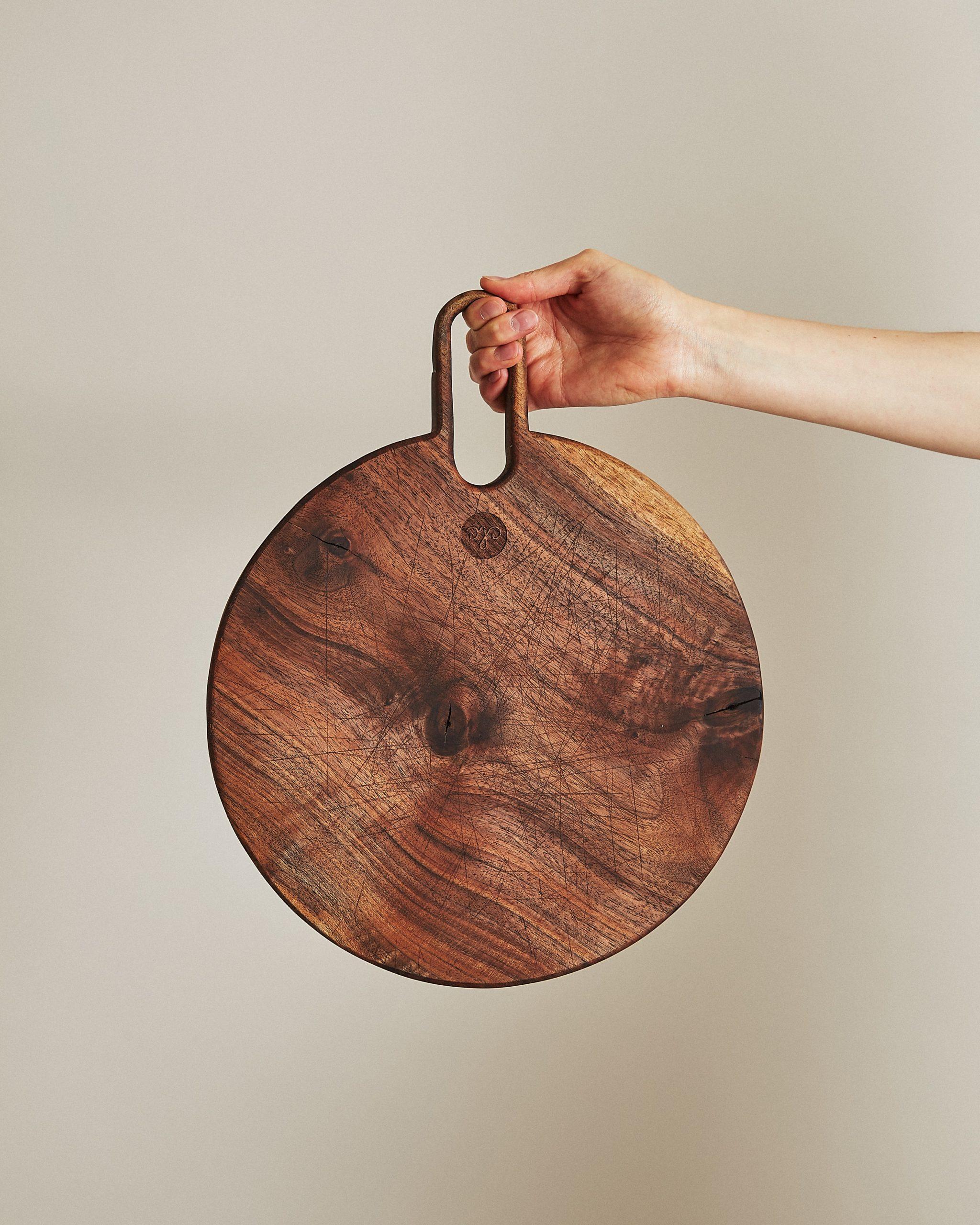 reclaimed, round walnut cutting board