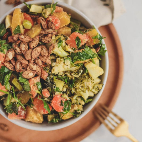 ginger tahini squash broccoli bowl