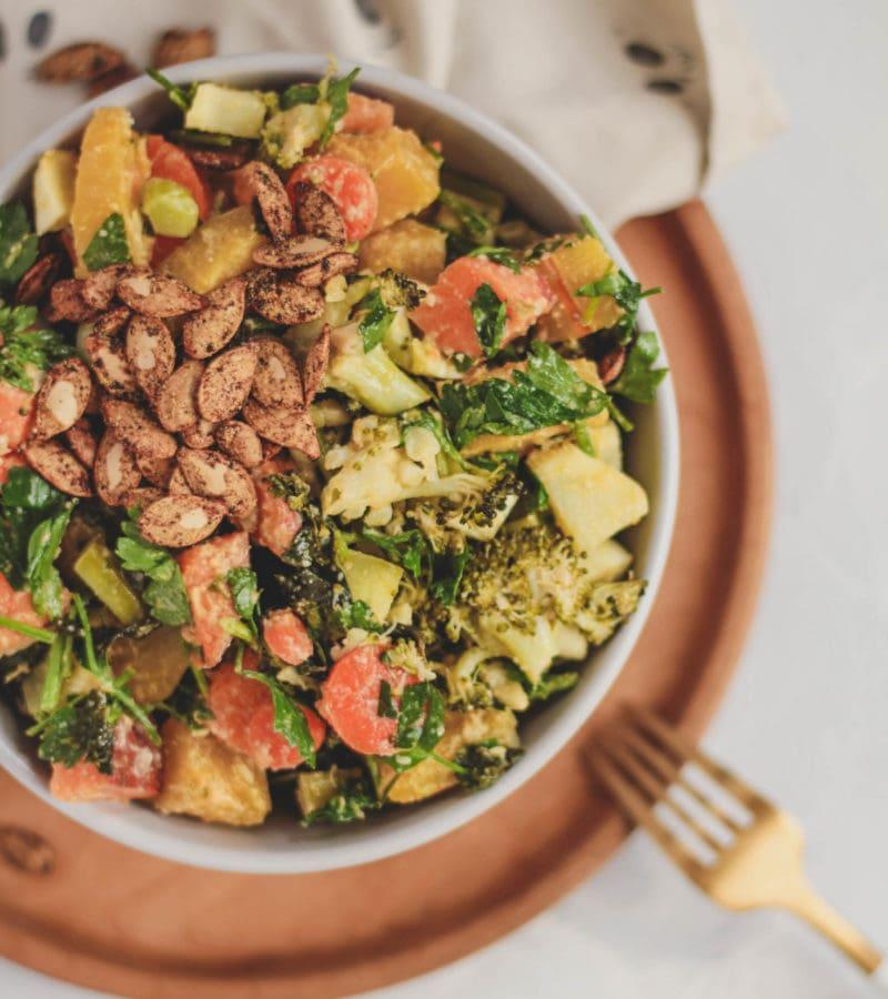 ginger tahini squash broccoli bowl