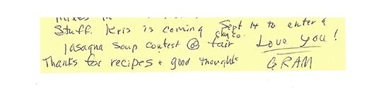 handwritten signoff from grandma