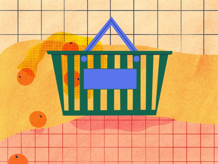 grocery store basket illustration