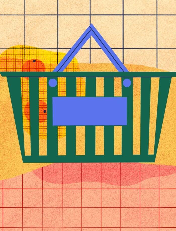 grocery store basket illustration