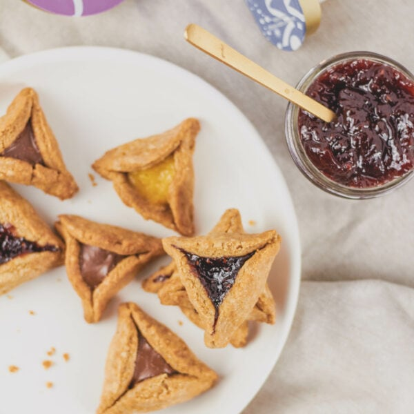 vegan hamantaschen with jelly filling