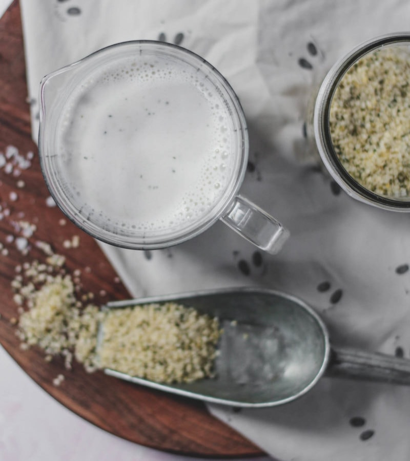 hemp milk and hemp seeds
