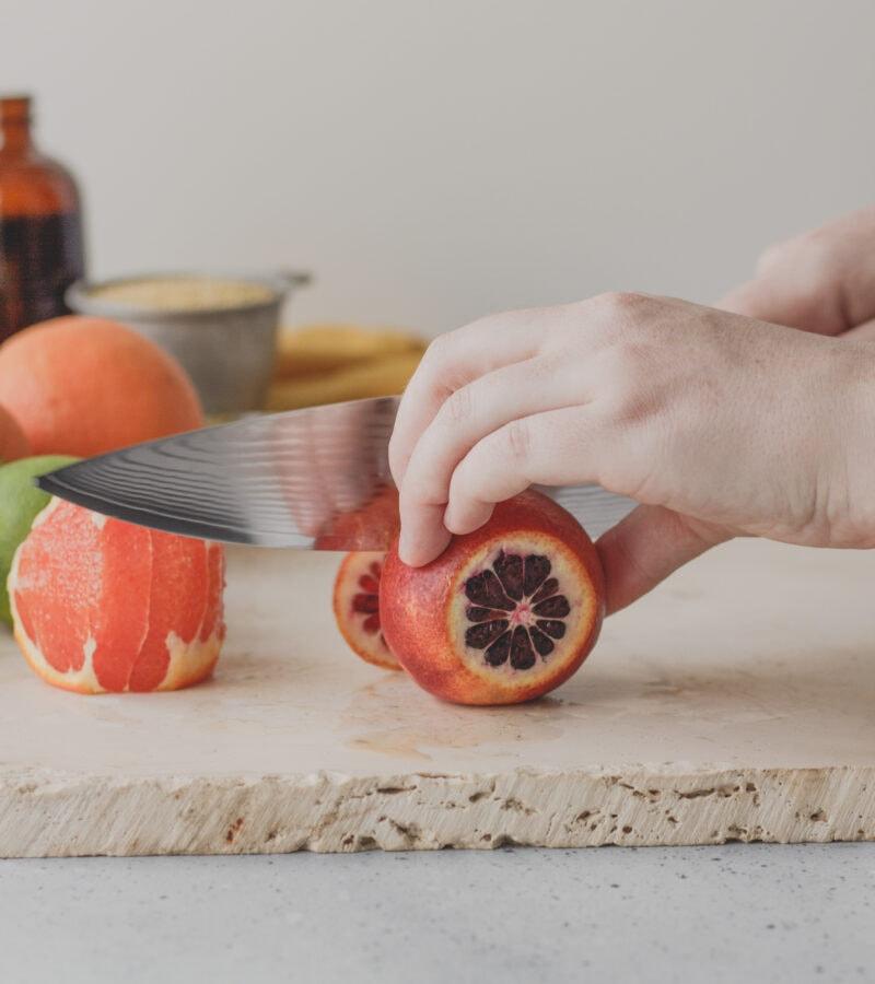 chopping citrus