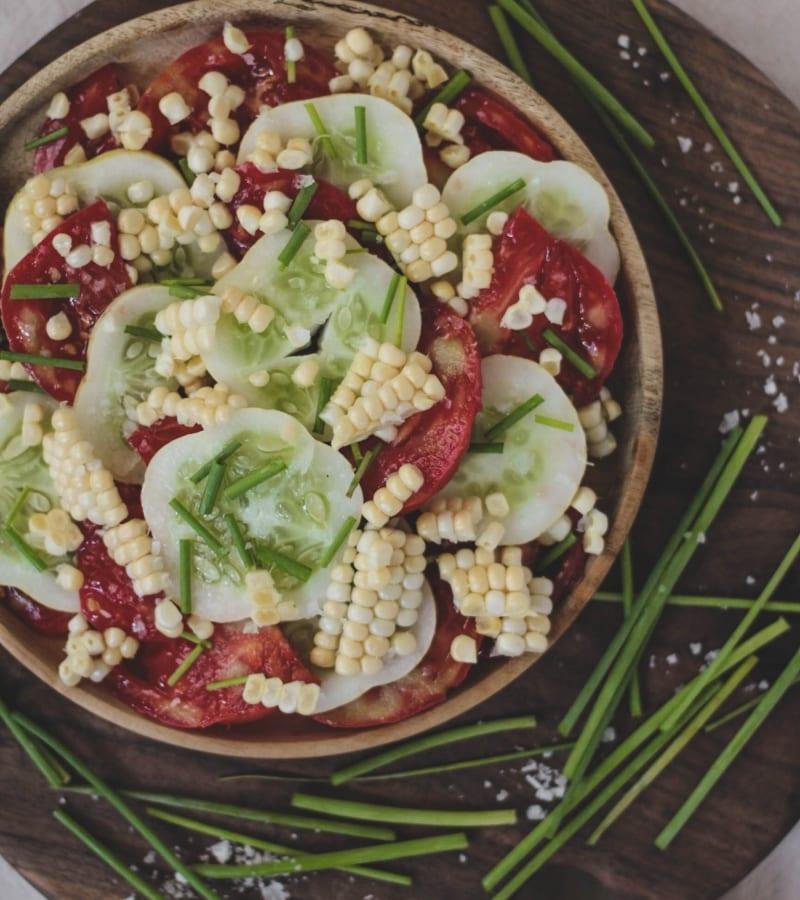 Lemon Cucumber + Heirloom Tomato Salad