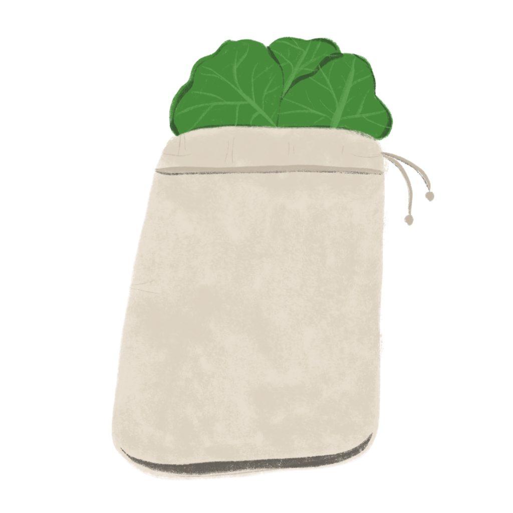 litterless produce bag illustration