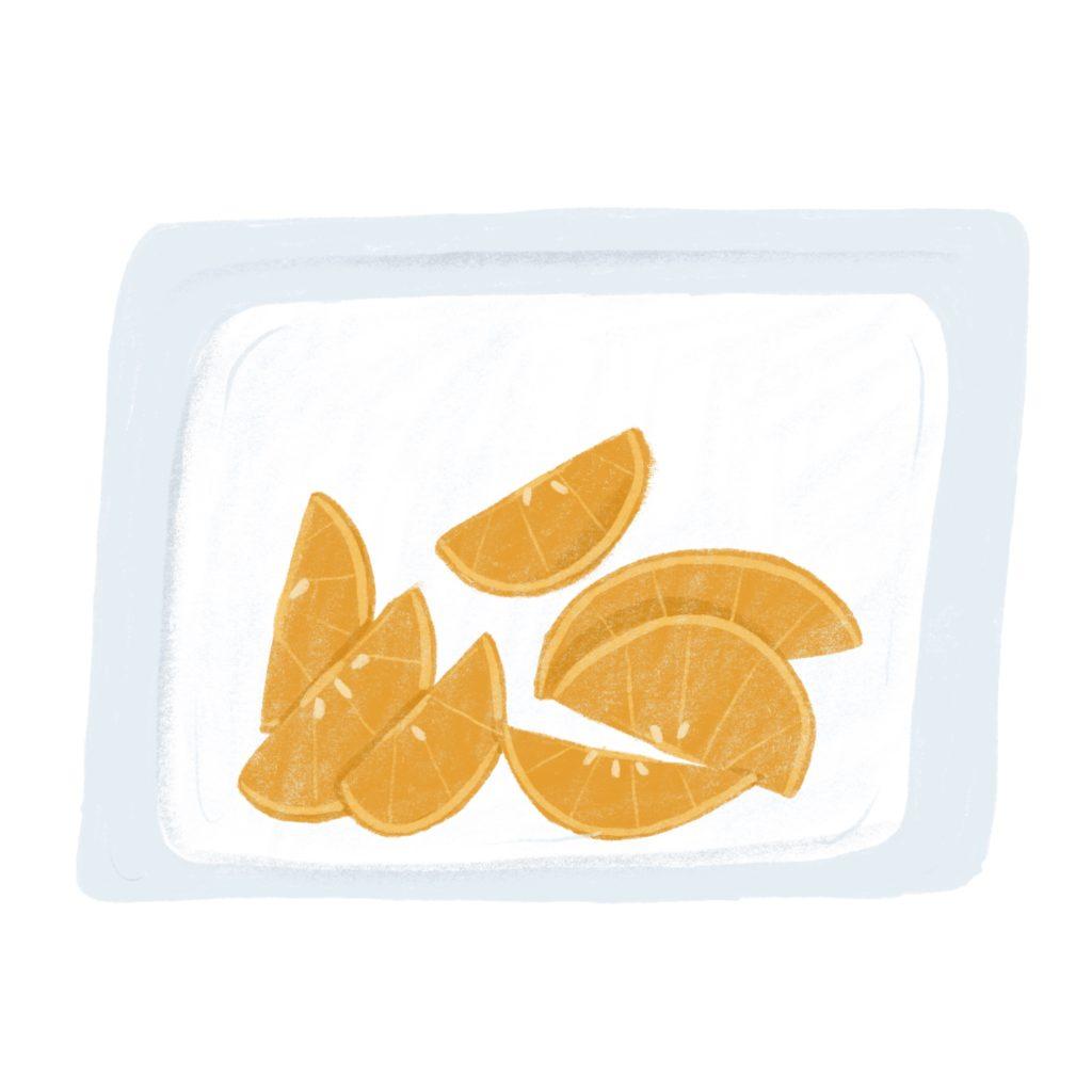 litterless orange slices in reusable bag illustration