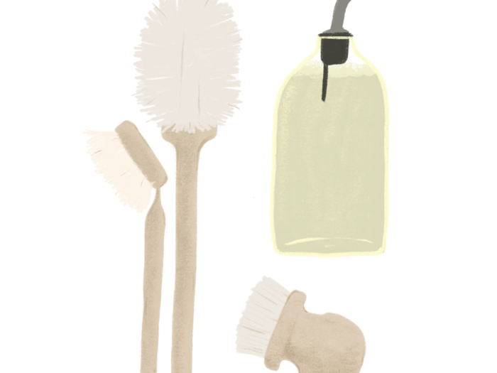 illustrated zero waste cleaning supplies