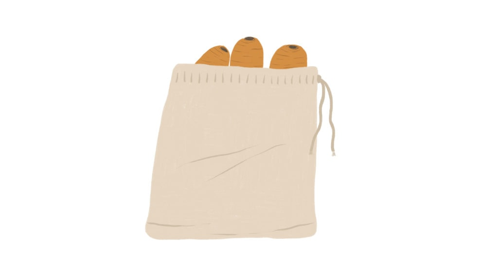 carrots in a produce bag illustration