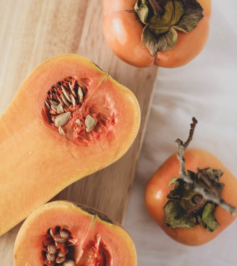 butternut squash and persimmons