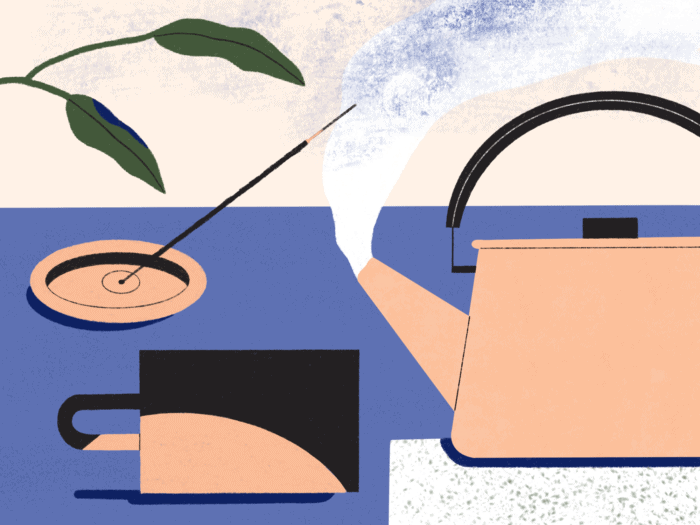 illustration of boiling kettle, tea cup, incense, and plant
