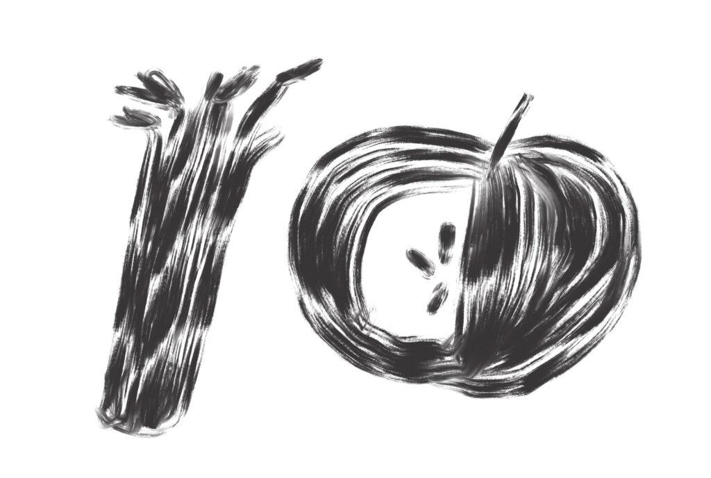 rhubarb and apple illustration