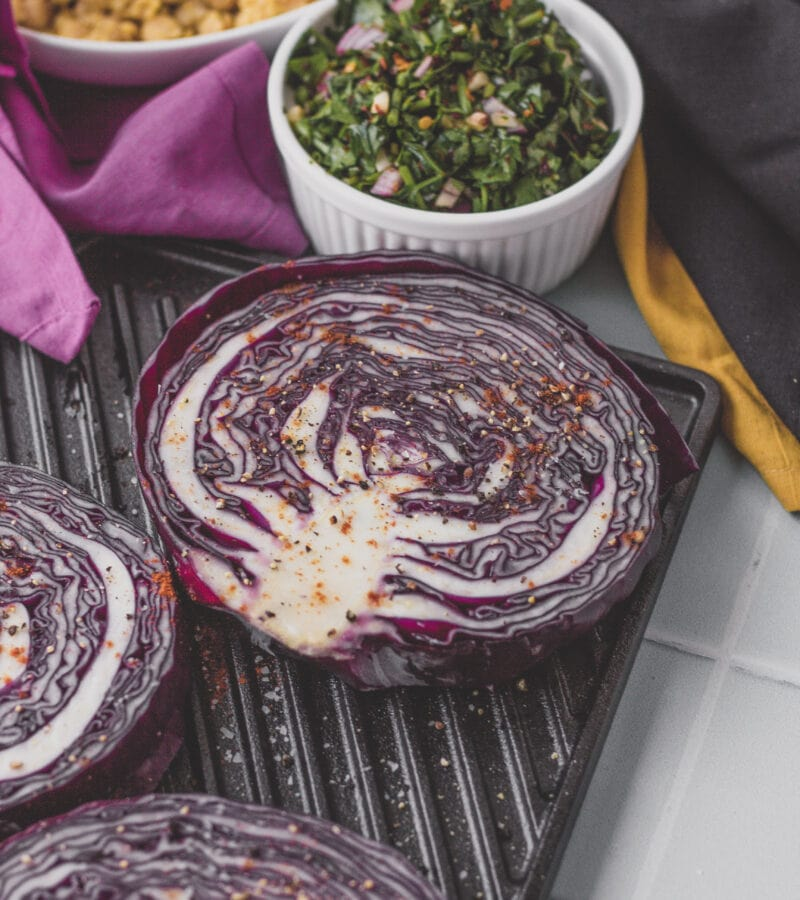 purple cabbage steaks with chimichurri