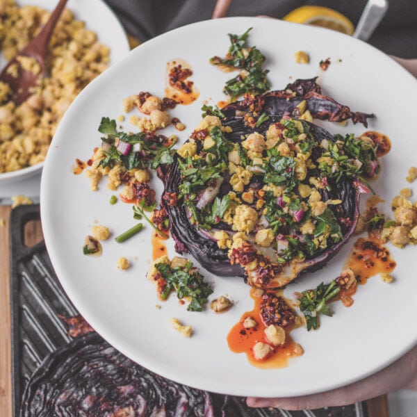 purple cabbage steaks with chimichurri and chickpea crumble