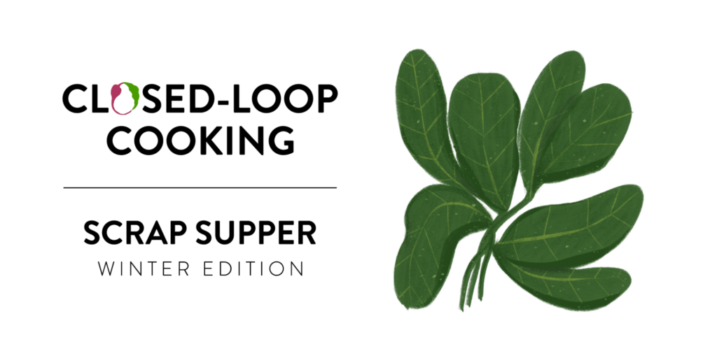 scrap supper winter edition callout and leafy greens illustration