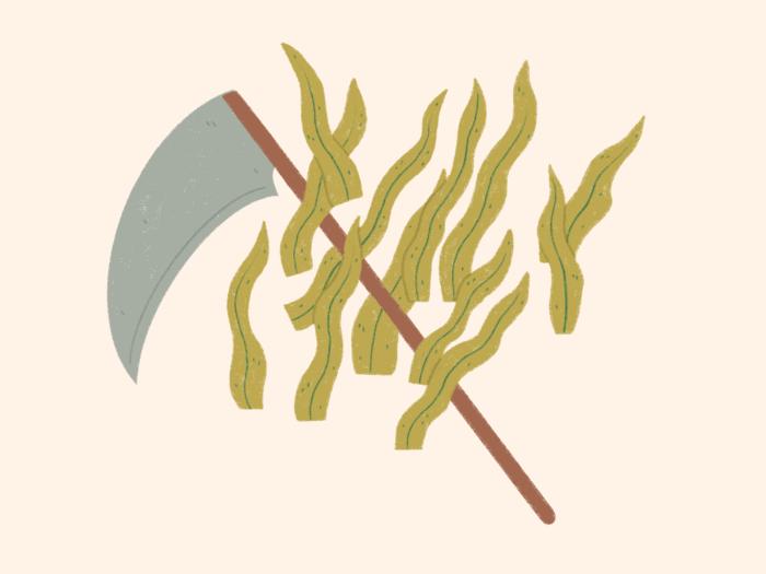 farming scythe and grass illustration