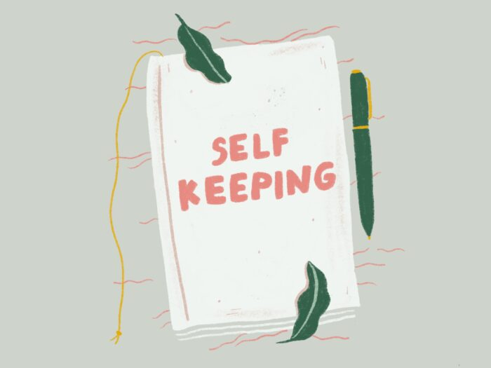 "illustrated journal with text ""self keeping"""