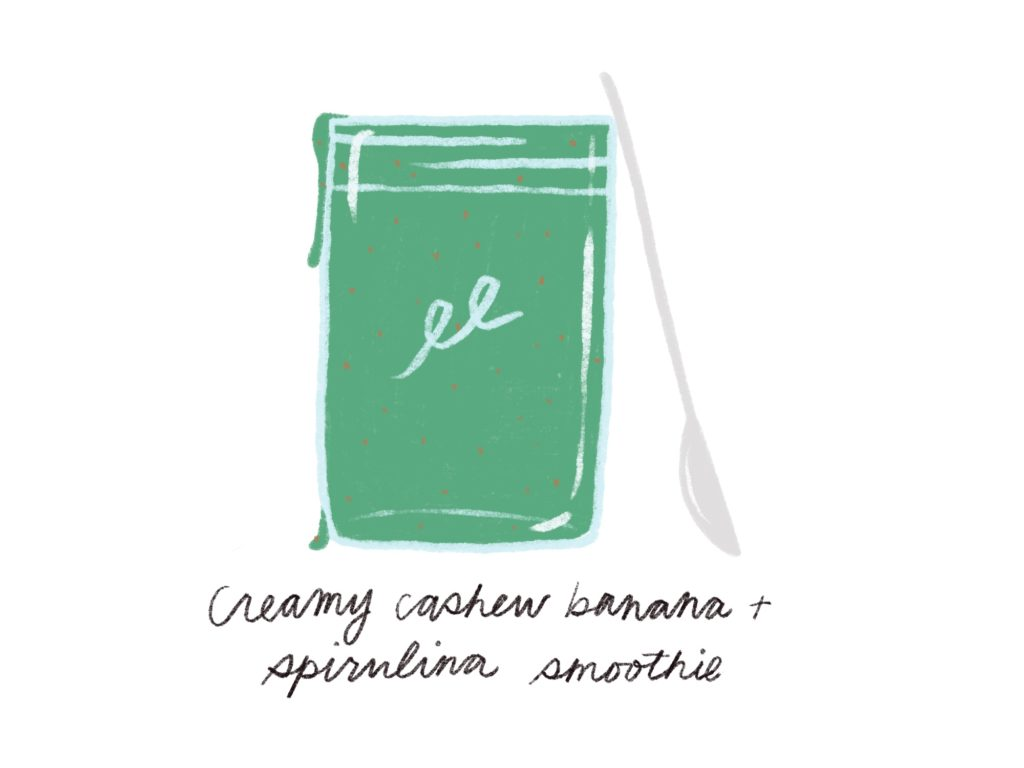 creamy cashew banana and spirulina smoothie