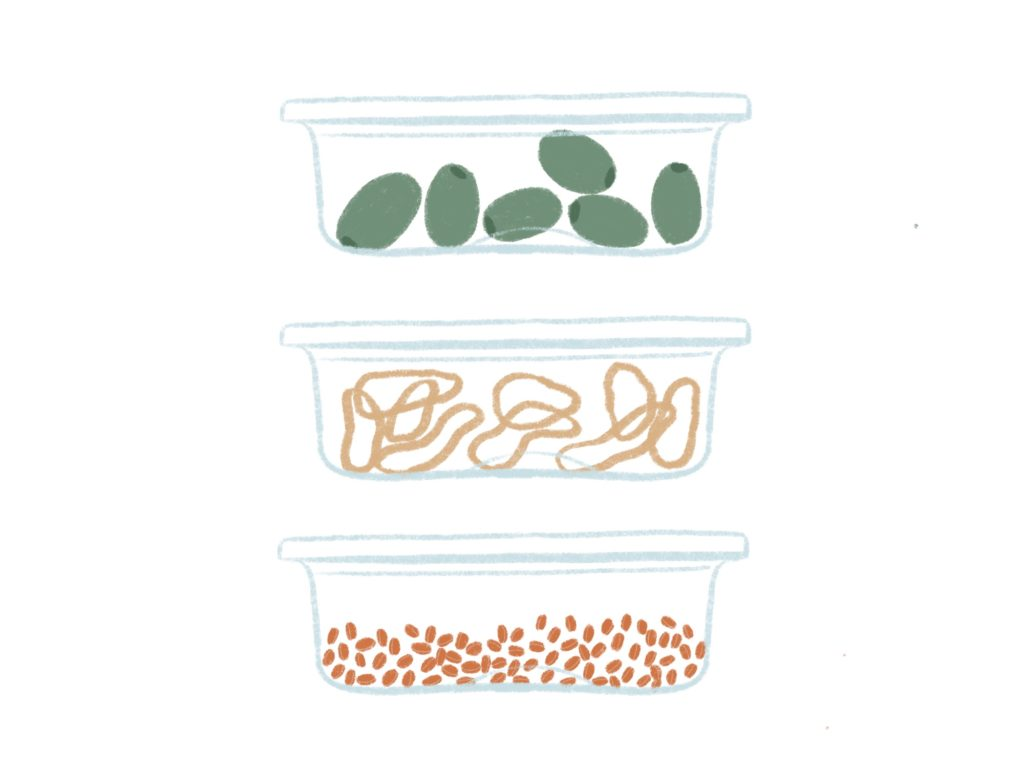 illustration of 3 containers with olives, rubber bands, and lentils