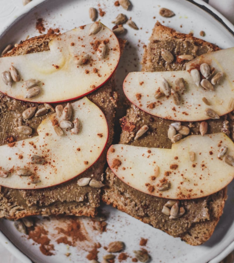 sunflower seed butter on toast with apples