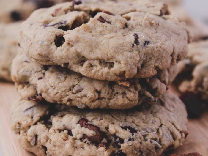 tahini trail mix cookies, stacked