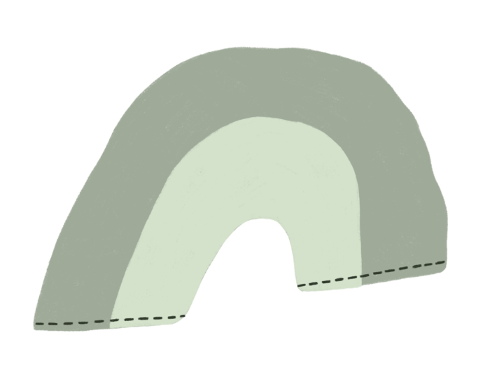 green and grey rainbow illustration representing a dish towel