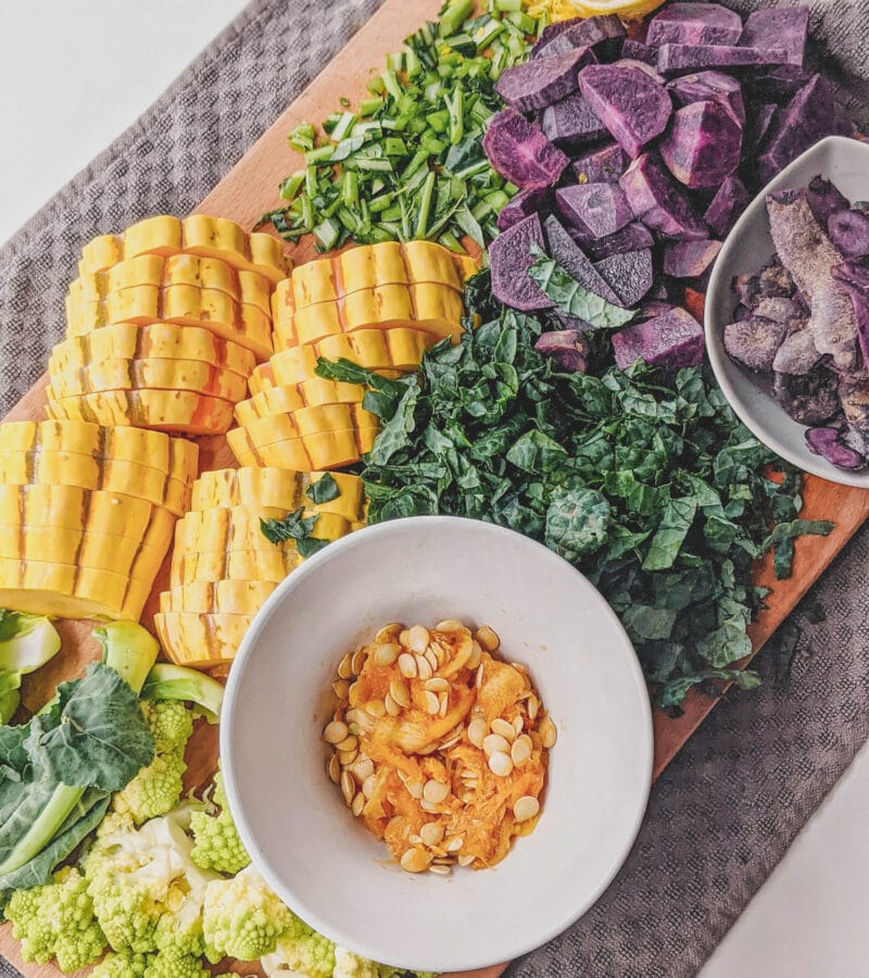 use it all fall salad ingredients, squash, kale, potatoes